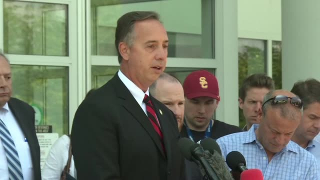 state attorney for anne arundel county wes adams speaking at a news conference says that the shooter at the capital gazette barricaded a back door to... - maryland us state stock videos & royalty-free footage