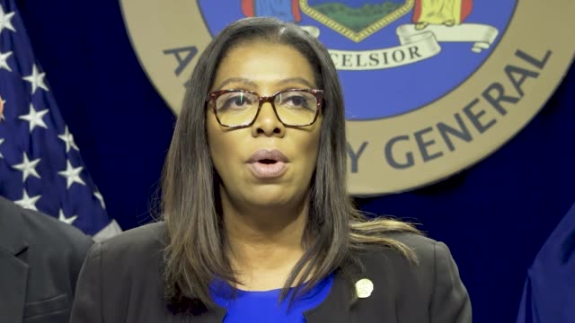 "state attorney general letitia james holds press conference at 28 liberty street in downtown manhattan per the press statement ""attorney general... - generalstaatsanwalt stock-videos und b-roll-filmmaterial"