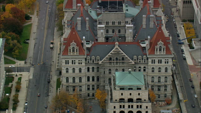 state capital - aerial view - new york,  albany county,  united states - albany new york state stock videos & royalty-free footage
