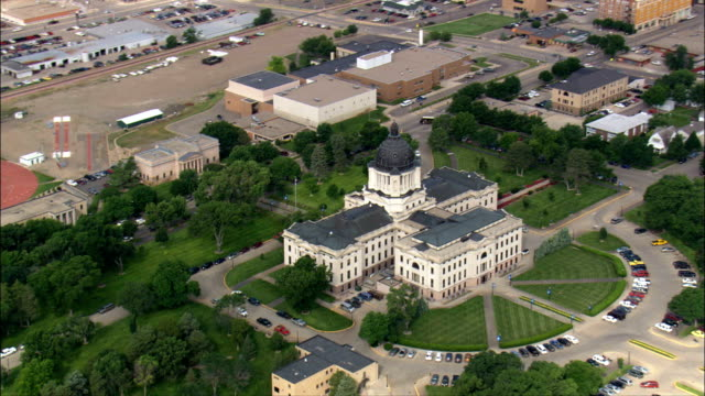 state capitol  - aerial view - south dakota, hughes county, united states - south dakota stock videos and b-roll footage