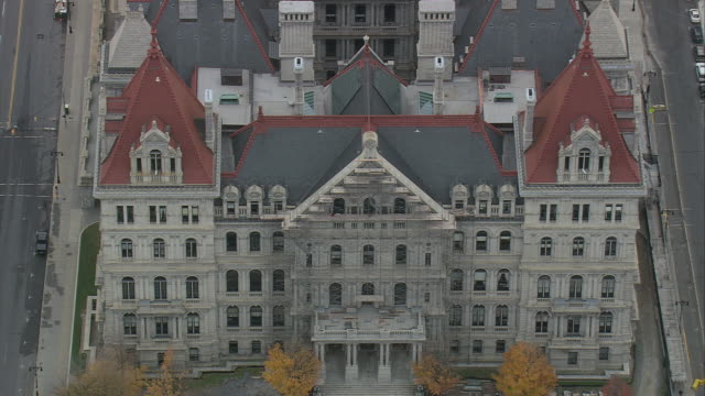 aerial state capitol building / albany, new york, united states - albany new york state stock videos & royalty-free footage