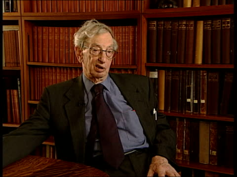 Background ITN INT Hobsbawm interview SOT Funeral of Churchill was a ceremony of burying the old British Empire