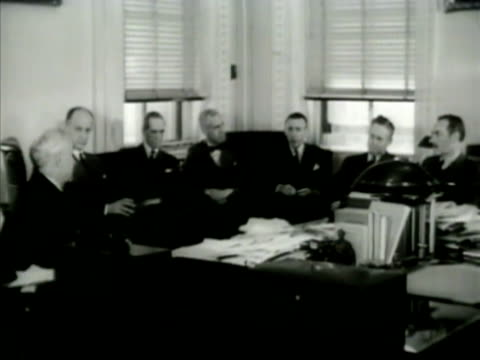 state department building int ms tennessee senator cordell hull us secretary of state sumner welles in meeting w/ aides ms hull talking ms hull... - cordell hull stock videos and b-roll footage