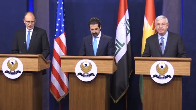 State Department official John Lister Deputy Prime Minister of the Iraqi Kurdish Regional Government Qubad Talabani and US Ambassador to Iraq Douglas...