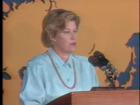 state department spokesperson phyllis oakley announces the death of us ambassador arnold raphel in the explosion of an airplane also carrying... - united states and (politics or government) stock videos & royalty-free footage