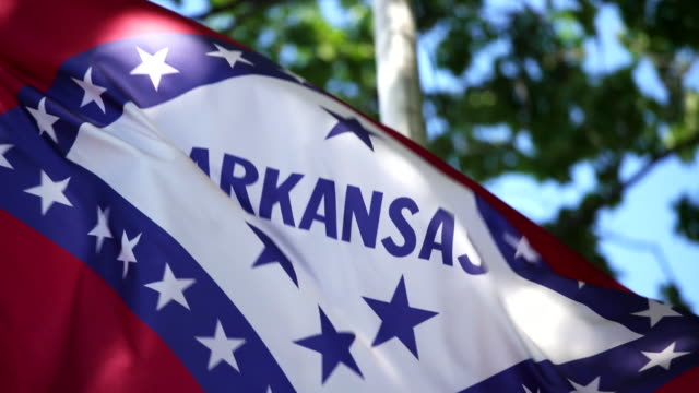 state flag of arkansas waving in the breeze - - arkansas stock videos & royalty-free footage