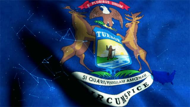 state flag of michigan - lansing stock videos & royalty-free footage