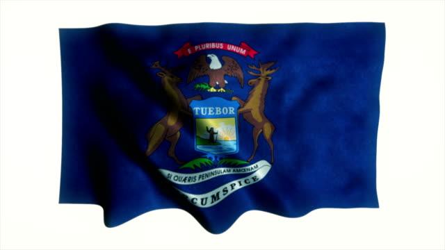 vidéos et rushes de drapeau de l'état du michigan - gouverneur
