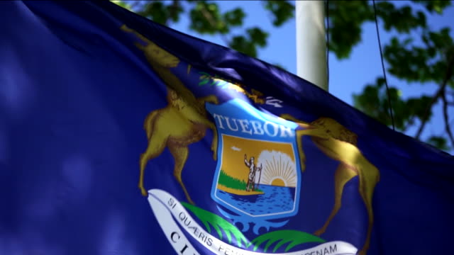 state flag of michigan waving in the breeze - 4k/uhd - michigan stock videos & royalty-free footage