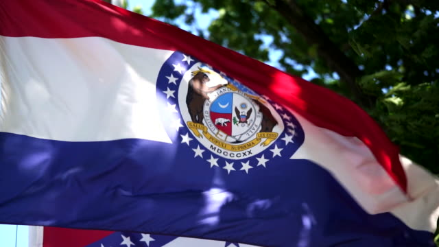 vídeos de stock e filmes b-roll de state flag of missouri waving in the breeze - - missouri