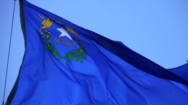 vídeos de stock e filmes b-roll de state flag of nevada waving in the breeze - 4k/uhd - nevada