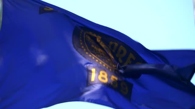 statliga oregon flagga vajande i vinden - 4k/uhd - oregon amerikansk delstat bildbanksvideor och videomaterial från bakom kulisserna