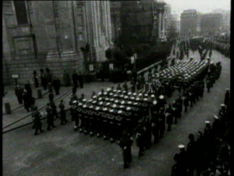 state funeral for winston churchill / coffin carried down steps queen and duke of edinburgh procession cannons fired winston churchill funeral on... - winston churchill stock videos & royalty-free footage