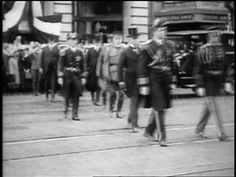 b/w 1923 state military officials walking on street in president harding's funeral procession / sf - 1923 stock videos & royalty-free footage