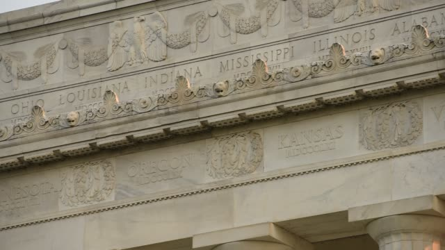 state names are engraved above doric columns on the lincoln memorial. - doric stock videos & royalty-free footage