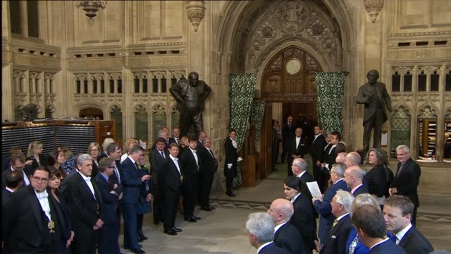 black rod leading mps out of house of commons england london houses of parliament int speaker of the house of commons john bercow along to house of... - state opening of uk parliament stock videos & royalty-free footage