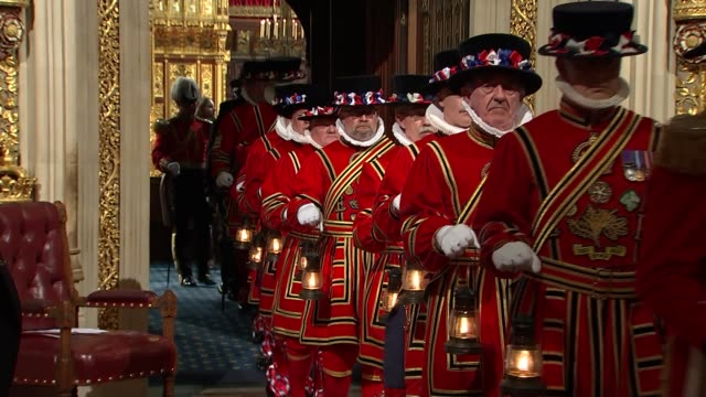 lantern search england palace of westminster int yeoman of the guard march with oil lanterns through lobby of parliament to conduct a ceremonial... - state opening of uk parliament stock videos & royalty-free footage