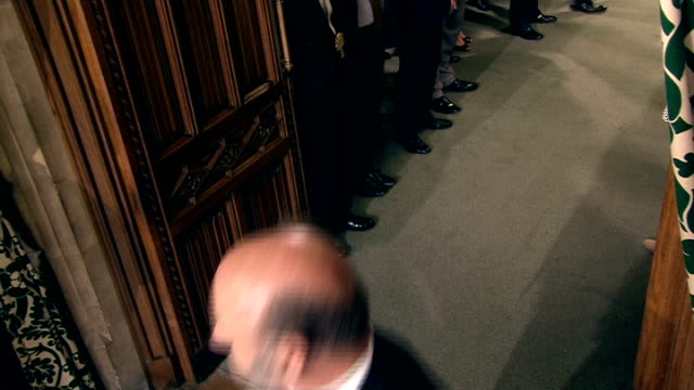 locked off camera shot doors closed black rod banging on door doors opened and black rod enters / black rod and speaker of the house john bercow mp... - rod stock videos & royalty-free footage