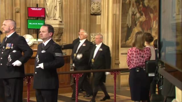 procession through central lobby england london houses of parliament central lobby int police officers and others waiting in central lobby /... - state opening of uk parliament stock videos & royalty-free footage
