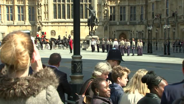 queen's arrival in carriage ***footage prince charles prince of wales and camilla duchess of cornwall along in carriage / household cavalry along /... - the queen's speech state opening of uk parliament stock videos & royalty-free footage
