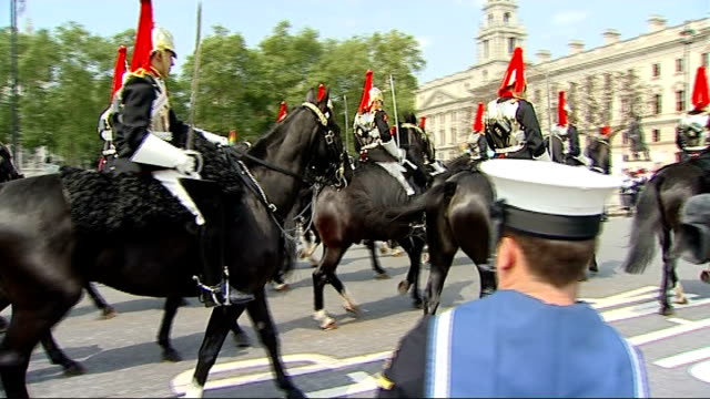queen's departure from parliament england london westminster parliament square ext guards of the household cavalry along on horseback officers from... - guard of honour stock videos and b-roll footage