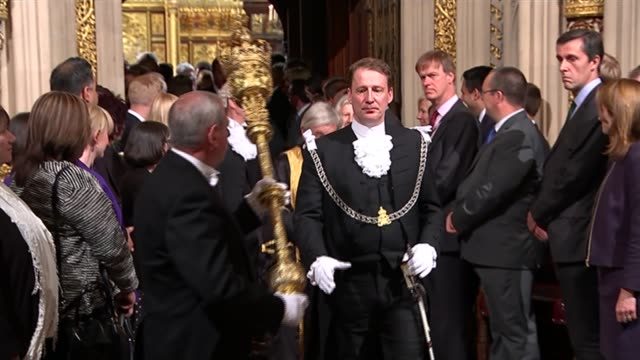 queen's speech 2015 house of commons int parliament mace being carried with john bercow following behind in procession - the queen's speech state opening of uk parliament stock videos & royalty-free footage
