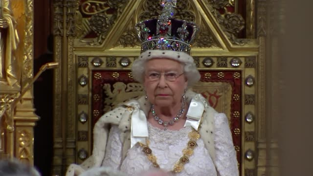 queen's speech 2015 house of lords queen sat waiting with prince charles the prince of wales and camilla duchess of cornwall close shot queen sat on... - the queen's speech state opening of uk parliament stock videos & royalty-free footage