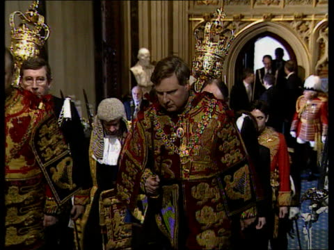 queen's speech england london house of lords queen elizabeth ii from carriage with prince philip duke of edinburgh then along through door int state... - cape stock videos & royalty-free footage