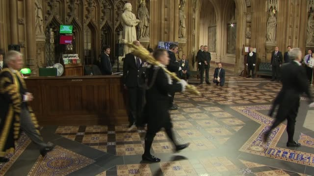 state opening of parliament: speaker's procession; england: london: houses of parliament: central lobby: int john bercow mp processing along through... - 女優 サラ クラーク点の映像素材/bロール
