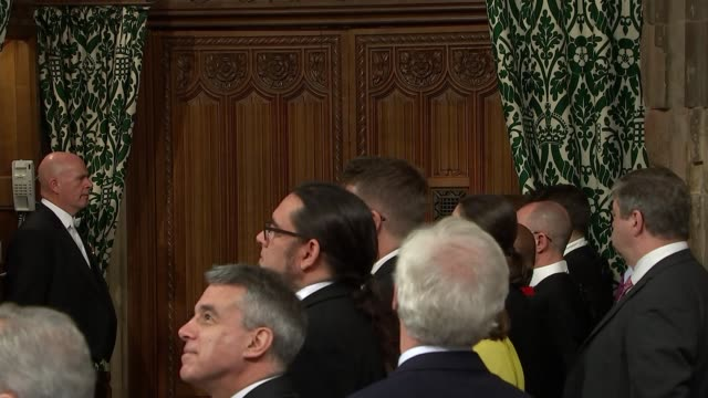 speaker's procession in members' lobby england london houses of parliament members' lobby int john bercow mp along processing along through lobby... - damian hinds stock videos and b-roll footage