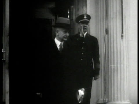 state secretary cordell hull exiting building int vs telephone call buttons ms private secretaries marguerite 'missy' lehand marvin h mcintyre... - 1933 stock-videos und b-roll-filmmaterial