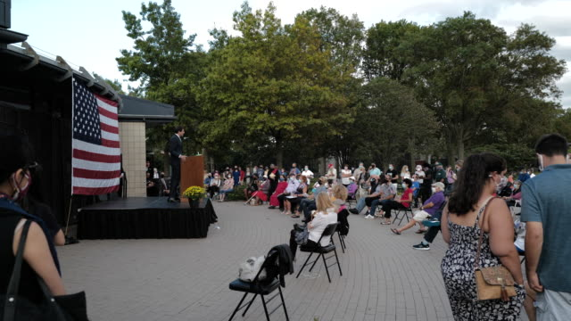 state senator andrew gounardes speaks at the carmine carro center for a 9/11 community vigil on september 11, 2020 in marine park, brooklyn, new york... - biological process stock videos & royalty-free footage