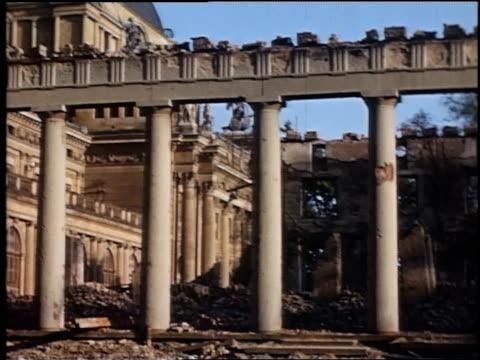 state theater colonnade damaged by bombing / wiesbaden, germany - nachkriegszeit stock-videos und b-roll-filmmaterial