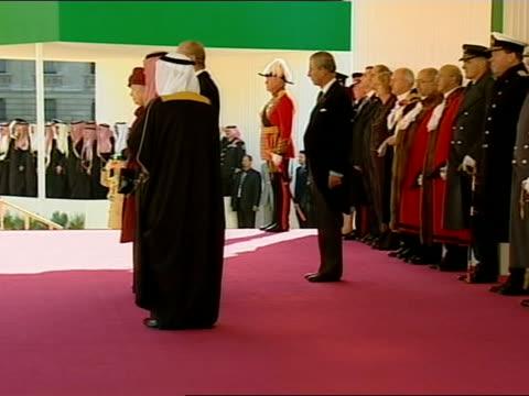 state visit by king abdullah of saudi arabia ceremonial welcome at horse guards parade royals and dignitaries in royal pavilion as military band... - horse guards parade stock videos and b-roll footage