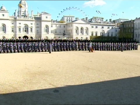 State visit by King Abdullah of Saudi Arabia ceremonial welcome at Horse Guards Parade ENGLAND London Horse Guards Parade EXT Line of dignitaries...