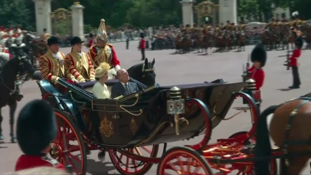 speech raises subject of gibraltar england london ext carriage carrying queen elizabeth ii and king felipe vi of spain along towards buckingham... - philip ii of spain stock videos and b-roll footage