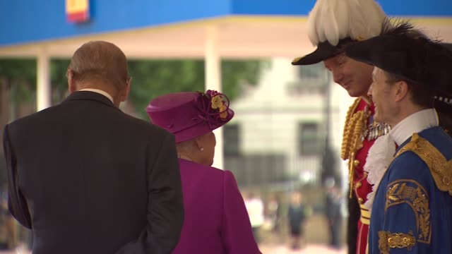 welcome from the queen at horseguards parade england london horseguards parade soldiers in ceremonial dress lined up as national anthem plays / car... - philip ii of spain stock videos and b-roll footage