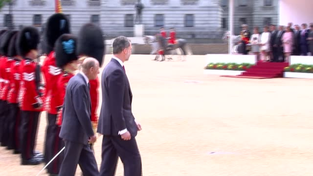 Welcome from the Queen at Horseguards Parade King Felipe VI and Prince Philip inspecting troops / members of the Royal party into carriages and away