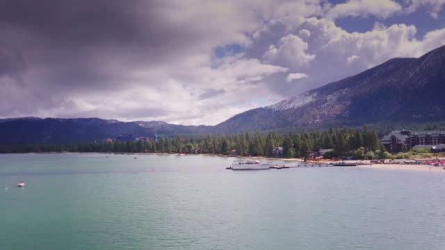 stateline and lake tahoe scenery - aerial view - nevada stock videos & royalty-free footage