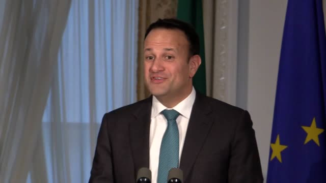 a statement by irish premier leo varadkar following his meeting about brexit at dublin's farmleigh house on with german chancellor angela merkel the... - leo varadkar stock videos and b-roll footage
