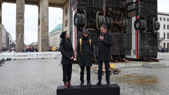 Statement of Dr Klaus Lederer Cultural and European Senator of Berlin in context of the installation GermanSyrian artist Manaf Halbouni attends the...