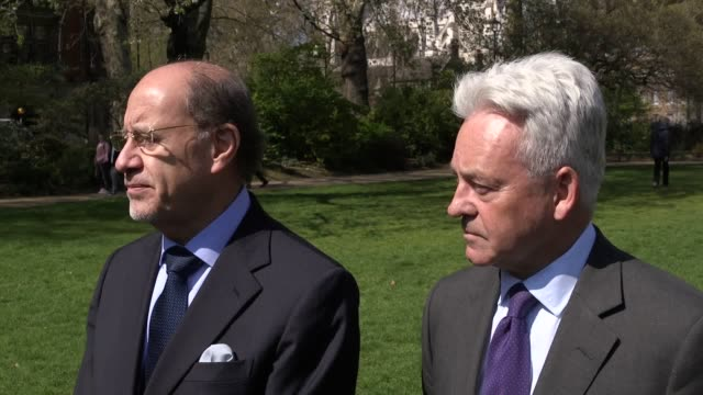 statement with foreign office minister of state alan duncan and ecuadorian ambassador jaime marchan give a statement in westminster after the arrest... - alan duncan stock videos & royalty-free footage