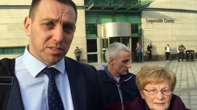 stockvideo's en b-roll-footage met statements outside belfast coroner's court from thornton family solicitor padraig o muirigh and mr thornton's widow mary thornton after a coroner has... - weduwe