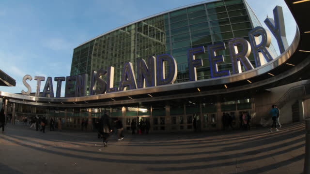 Staten Island Ferry entrance with pedestrians in Time Lapse