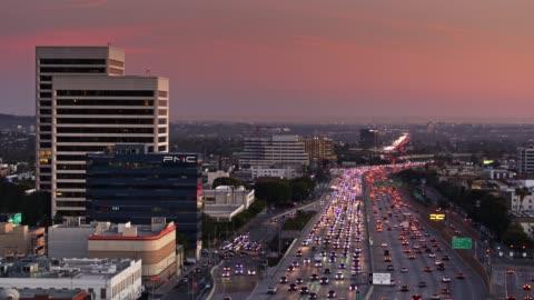 static aerial of 405 freeway westwood, los angeles - westwood neighborhood los angeles stock videos & royalty-free footage
