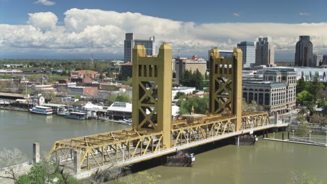 static aerial of downtown sacramento and the sacramento river - sacramento stock videos & royalty-free footage