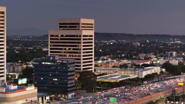 static aerial of office towers in westwood, los angeles - westwood neighborhood los angeles stock videos & royalty-free footage
