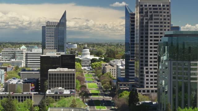 static aerial shot of california state capitol - sacramento stock videos & royalty-free footage
