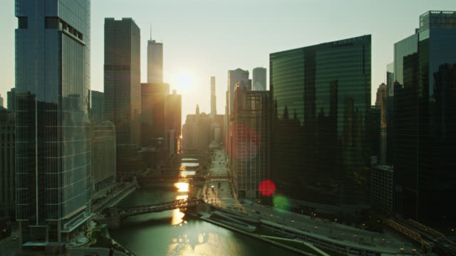 static aerial shot of chicago river at sunrise - willis tower stock videos & royalty-free footage