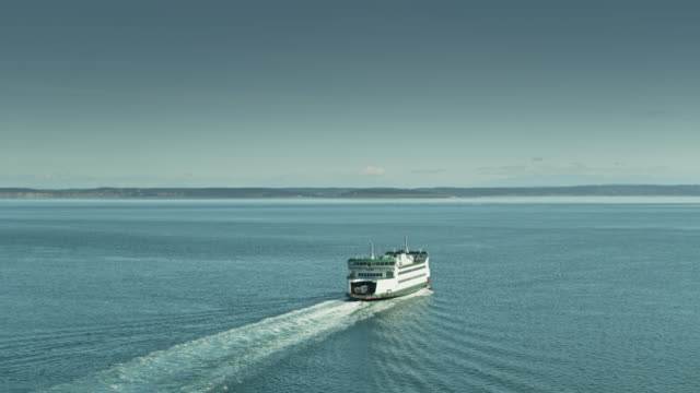 static aerial shot of ferry crossing puget sound - puget sound stock videos & royalty-free footage